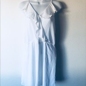 Bcbg Generation White ruffle dress sz L nwot